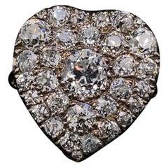 Victorian Diamond Set Heart Shaped Ring 18 Karat Yellow Gold