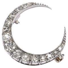 Victorian Diamond Silver and Gold Crescent Brooch, 2.00ct