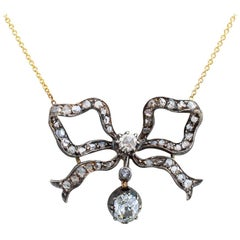 Victorian Diamond Silver Gold Bow Necklace