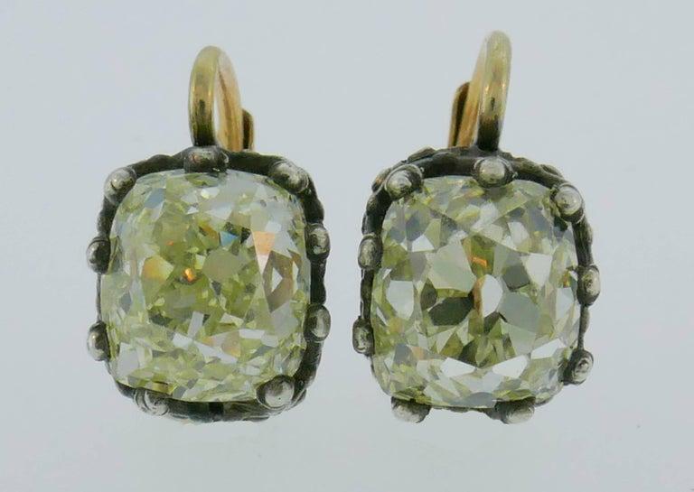 Old Mine Cut Victorian Diamond Silver Gold Drop Stud Earrings, Antique