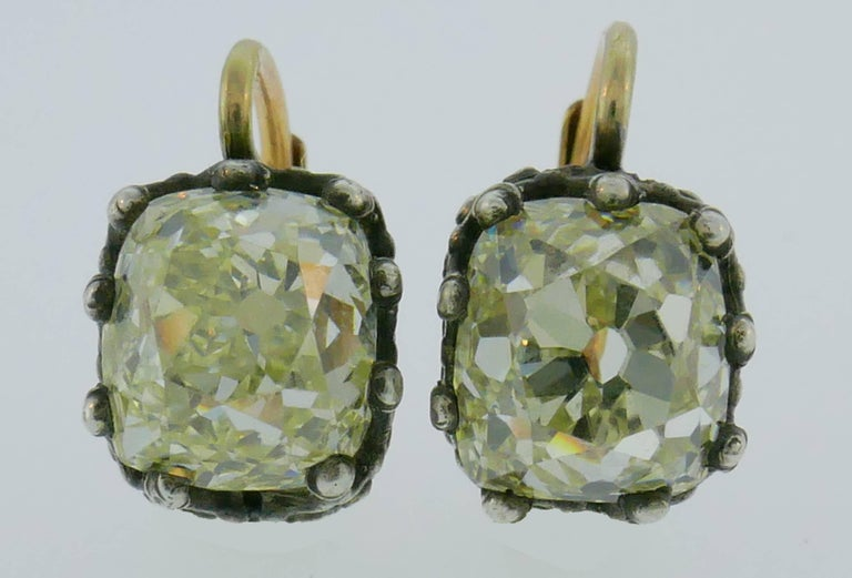 Victorian Diamond Silver Gold Drop Stud Earrings, Antique In Good Condition In Beverly Hills, CA