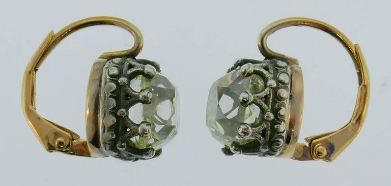 Women's Victorian Diamond Silver Gold Drop Stud Earrings, Antique