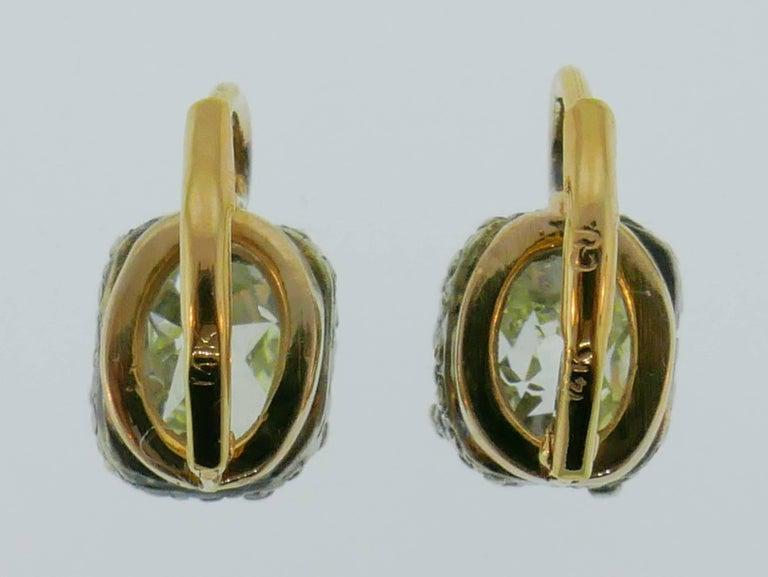 Victorian Diamond Silver Gold Drop Stud Earrings, Antique 1