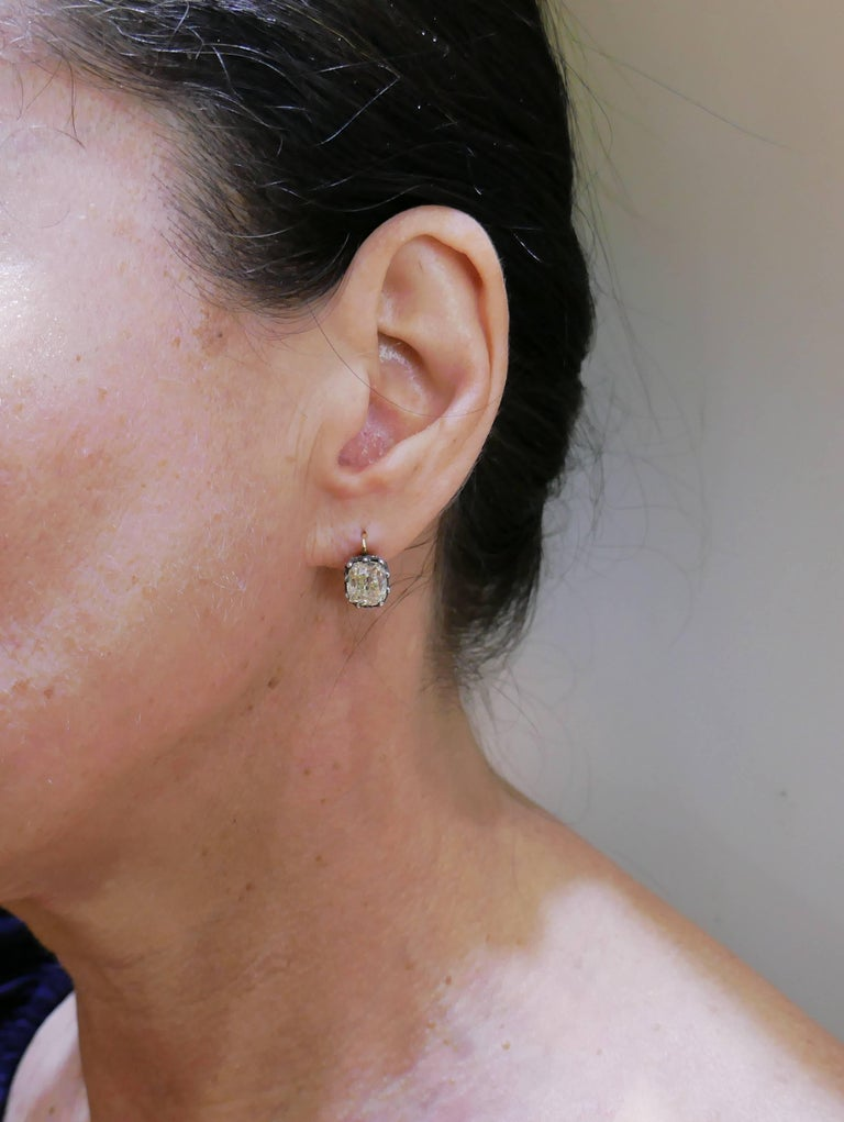 Victorian Diamond Silver Gold Drop Stud Earrings, Antique 3