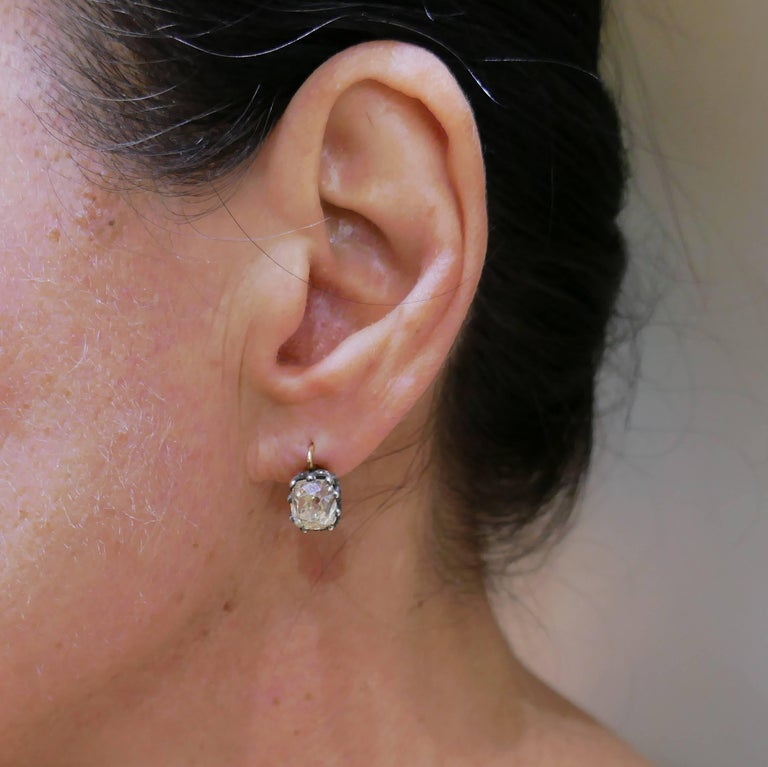 Victorian Diamond Silver Gold Drop Stud Earrings, Antique 4