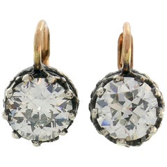 Victorian Diamond Silver Gold Drop Stud Earrings, Antique