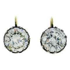 Victorian Diamond Silver Gold Drop Stud Earrings, Antique