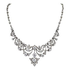 Victorian Diamond Silver Gold Necklace
