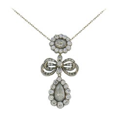 Victorian Diamond Silver Gold Pendant Necklace