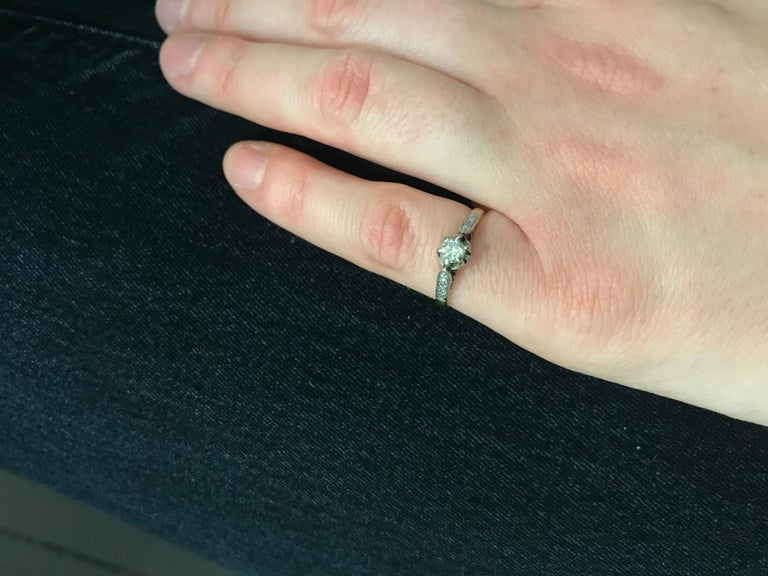 Women's or Men's Victorian Diamond Solitaire Engagement Ring, circa 1900s For Sale
