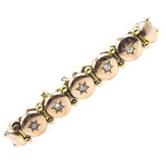 Victorian Diamond Star 14 Karat Yellow Gold Button Bracelet