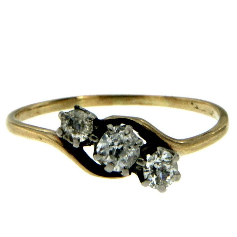 Victorian Diamond Three-Stone Gold Ring