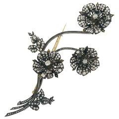 Victorian Diamond Tremblone Brooch French 18k Gold Silver Antique Clip Pin