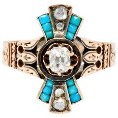 Victorian Diamond Turquoise 14 Karat Rose Gold Statement Ring