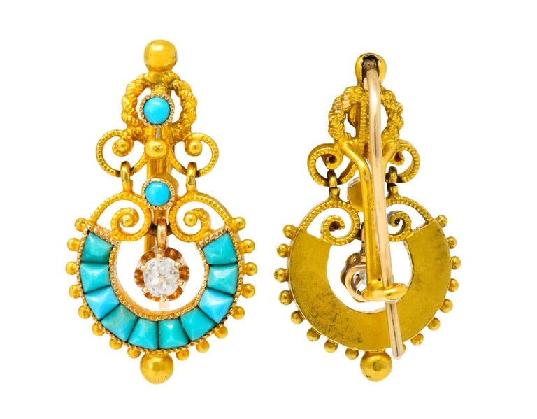 Victorian Diamond Turquoise 18 Karat Gold Drop Earrings For Sale 2
