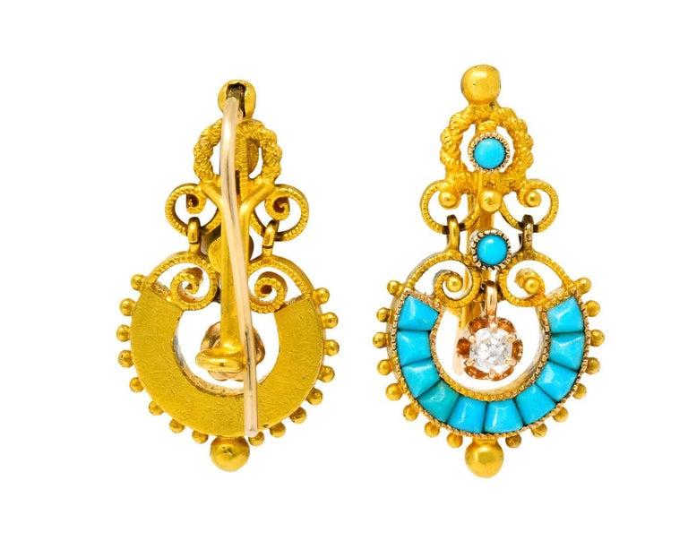 Victorian Diamond Turquoise 18 Karat Gold Drop Earrings For Sale 3