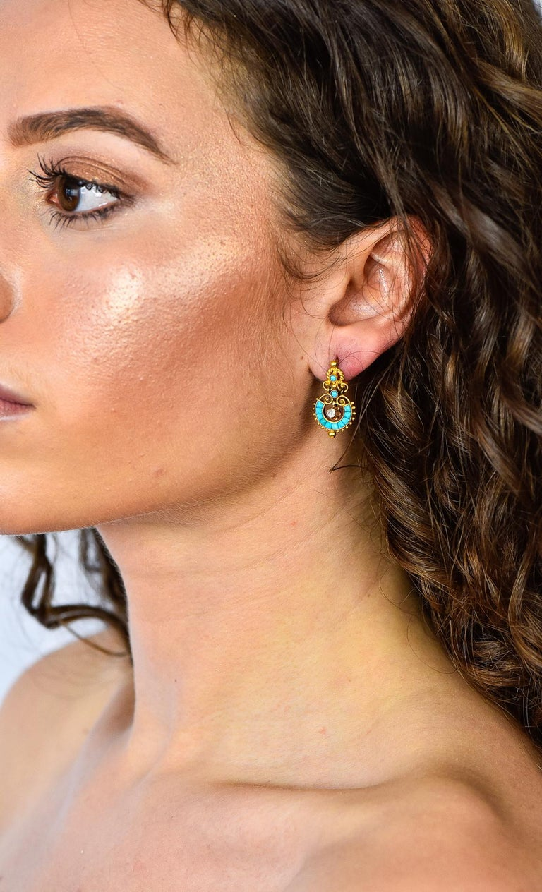 Victorian Diamond Turquoise 18 Karat Gold Drop Earrings For Sale 4