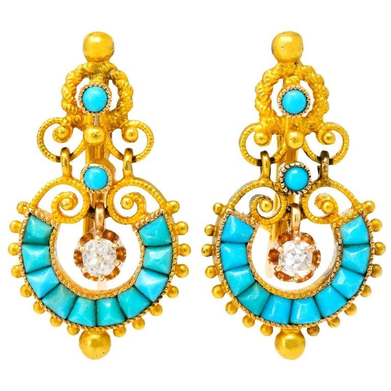 Victorian Diamond Turquoise 18 Karat Gold Drop Earrings For Sale