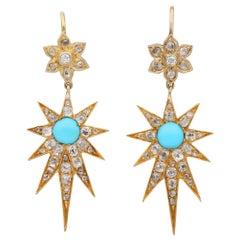 Victorian Diamond Turquoise Celestial Star Drop Earrings 18 Karat