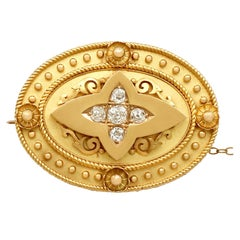 Victorian Diamond Yellow Gold Brooch or Locket