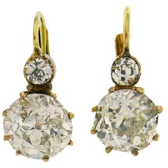Victorian Diamond Yellow Gold Drop Earrings Two-Stone