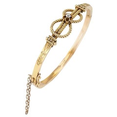 Victorian Diamond Yellow Gold Knot Hinged Bangle Bracelet English