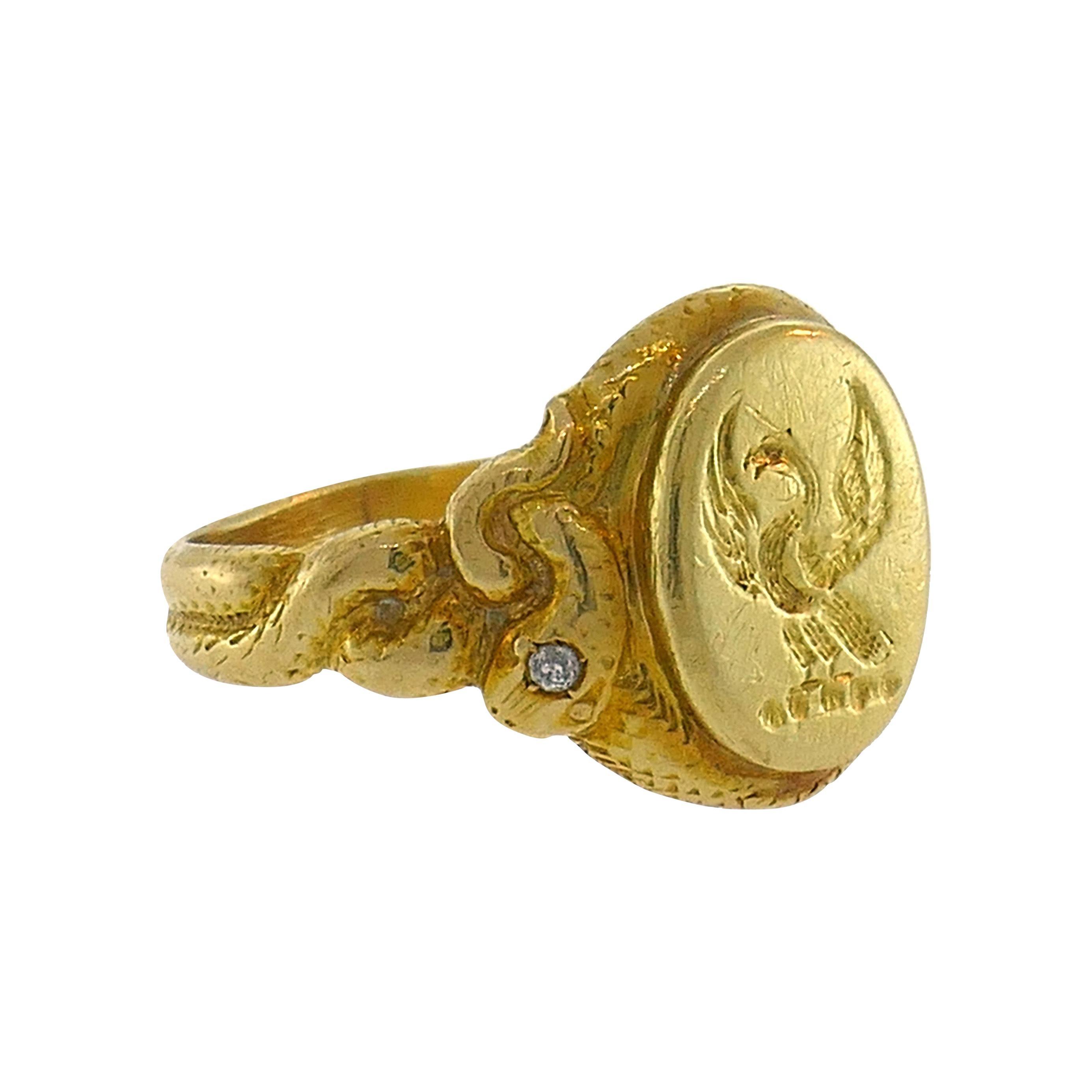 Victorian Diamond Yellow Gold Signet Ring