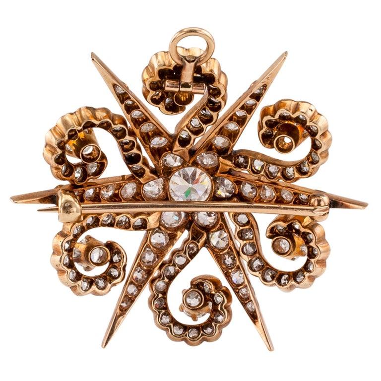 Women's Victorian Diamond Yellow Gold Star Brooch Pendant For Sale