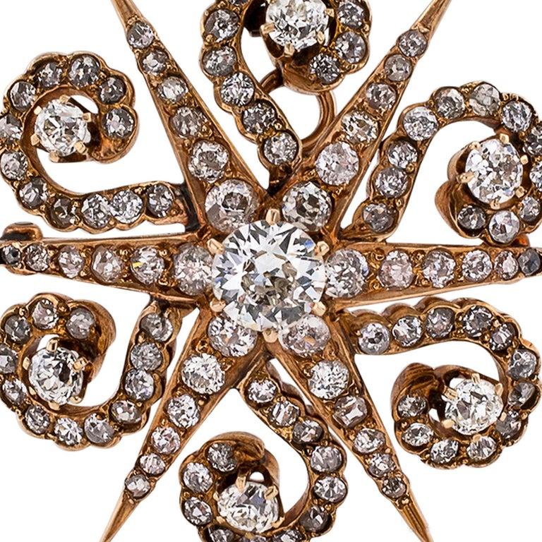 Victorian Diamond Yellow Gold Star Brooch Pendant For Sale 1