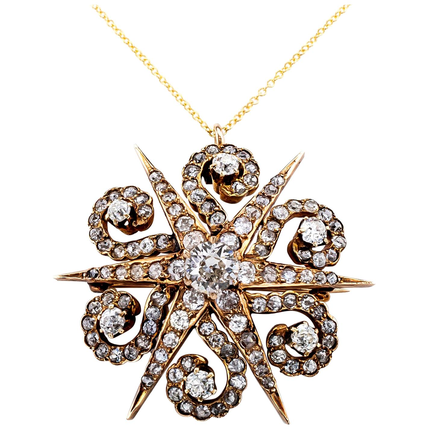 Victorian Diamond Yellow Gold Star Brooch Pendant