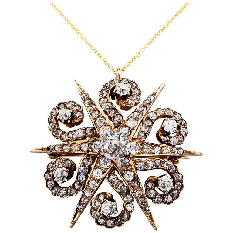 Victorian Diamond Yellow Gold Star Brooch Pendant For Sale