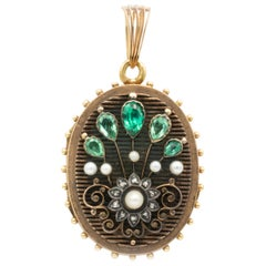 Victorian Diamonds and Seed Pearls Handmade Locket 14 Karat Gold
