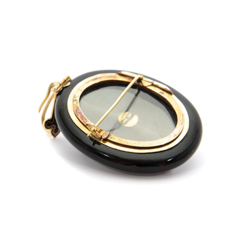 Victorian 14 Karat Gold Diamonds Onyx Locket Pendant Brooch For Sale 1