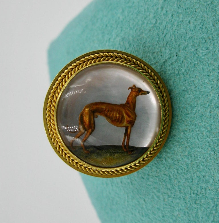 Round Cut Victorian Dog Rabbit Essex Crystal Earrings Hound Hare 15 Karat Gold Greyhound For Sale