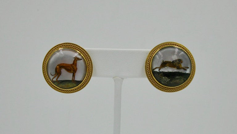 Women's Victorian Dog Rabbit Essex Crystal Earrings Hound Hare 15 Karat Gold Greyhound For Sale