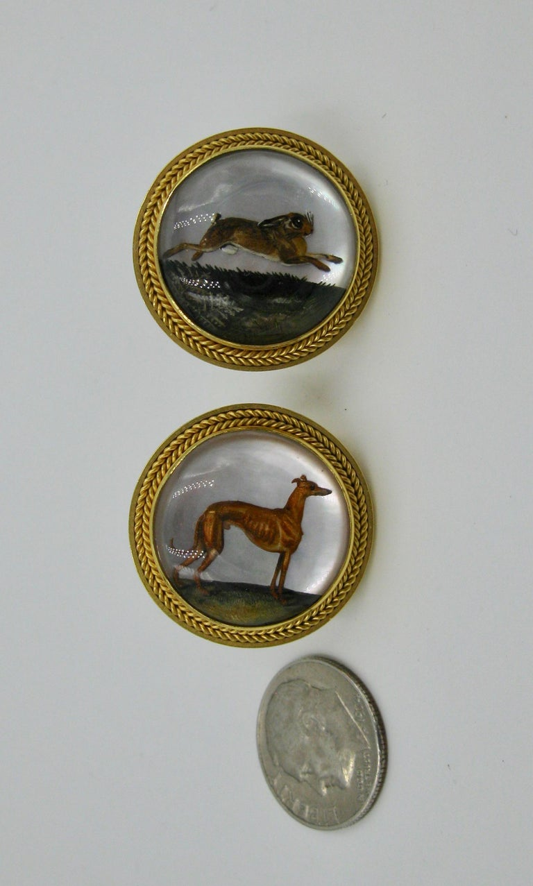 Victorian Dog Rabbit Essex Crystal Earrings Hound Hare 15 Karat Gold Greyhound For Sale 1