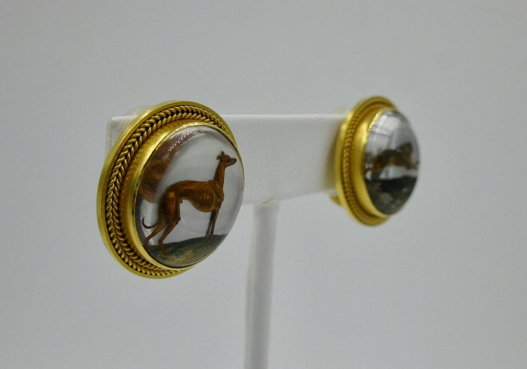 Victorian Dog Rabbit Essex Crystal Earrings Hound Hare 15 Karat Gold Greyhound For Sale 2