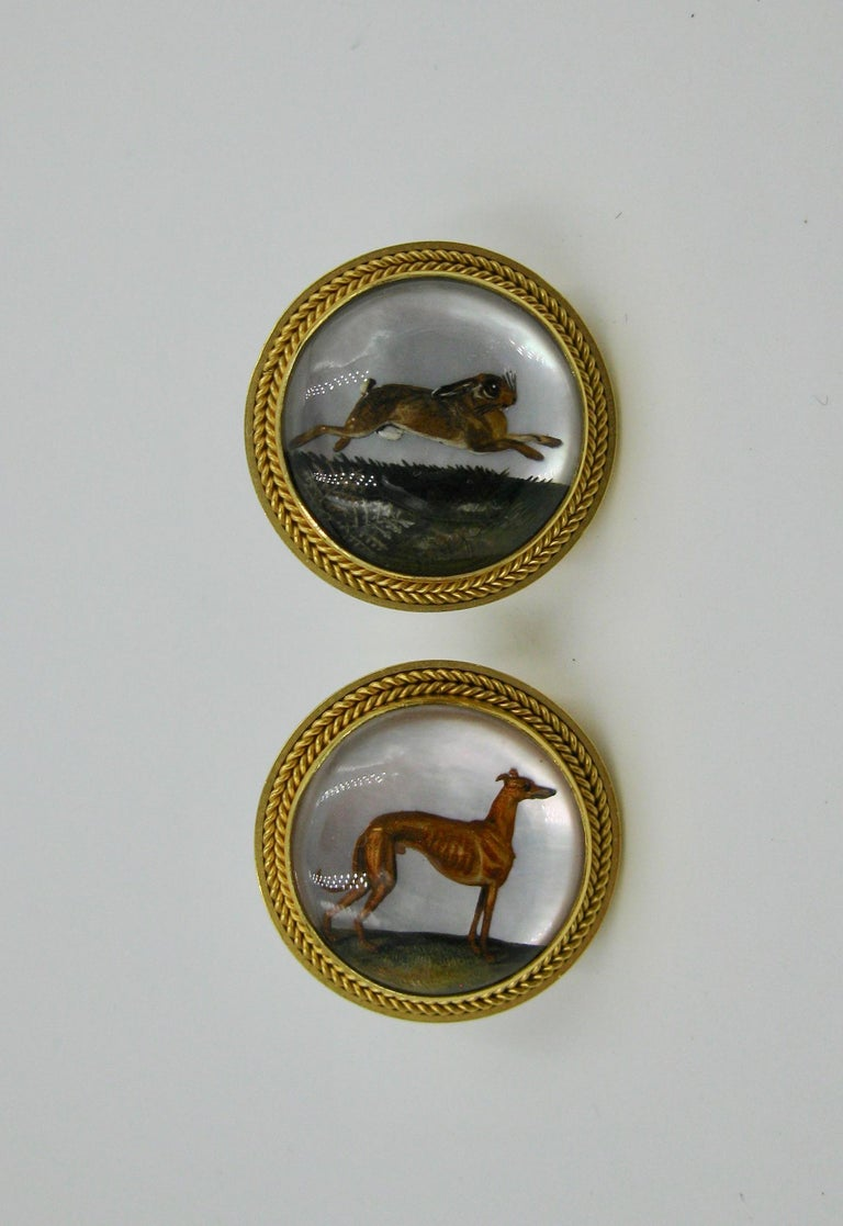Victorian Dog Rabbit Essex Crystal Earrings Hound Hare 15 Karat Gold Greyhound For Sale 3
