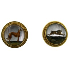 Victorian Dog Rabbit Essex Crystal Earrings Hound Hare 15 Karat Gold Greyhound