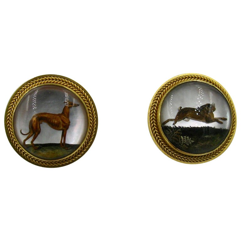 Victorian Dog Rabbit Essex Crystal Earrings Hound Hare 15 Karat Gold Greyhound For Sale