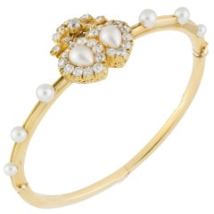 Victorian Double Heart Diamond and Pearl Bangle