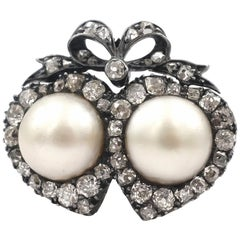 Victorian Double Heart Ring with Natural Pearls and Diamonds