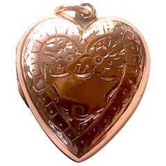 Victorian Double Sided Engraved Heart Locket