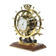 Victorian Double Steering-Wheel Desk Clock and Barometer Racing Trophy