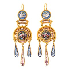 Victorian Dove and Roses Motif Micro Mosaic Earrings 18K Gold from Papal States