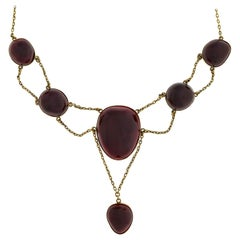 Victorian Dramatic Cabochon Garnet Festoon Necklace