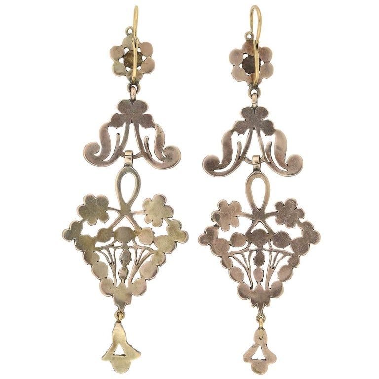 Victorian Dramatic Rose Cut Diamond Wirework Earrings For Sale 2