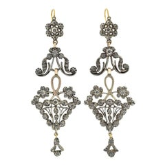 Victorian Dramatic Rose Cut Diamond Wirework Earrings