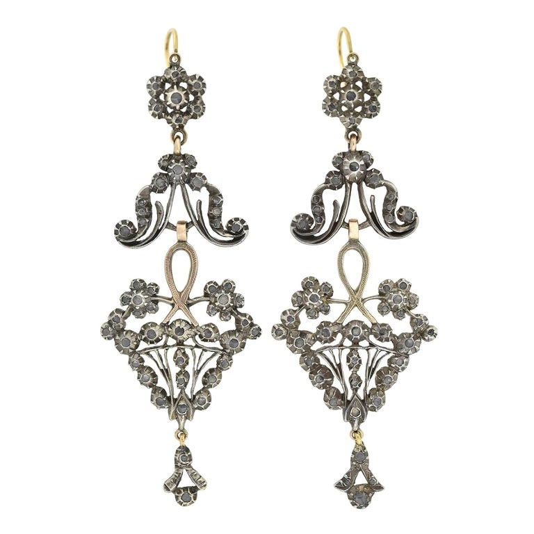 Victorian Dramatic Rose Cut Diamond Wirework Earrings For Sale