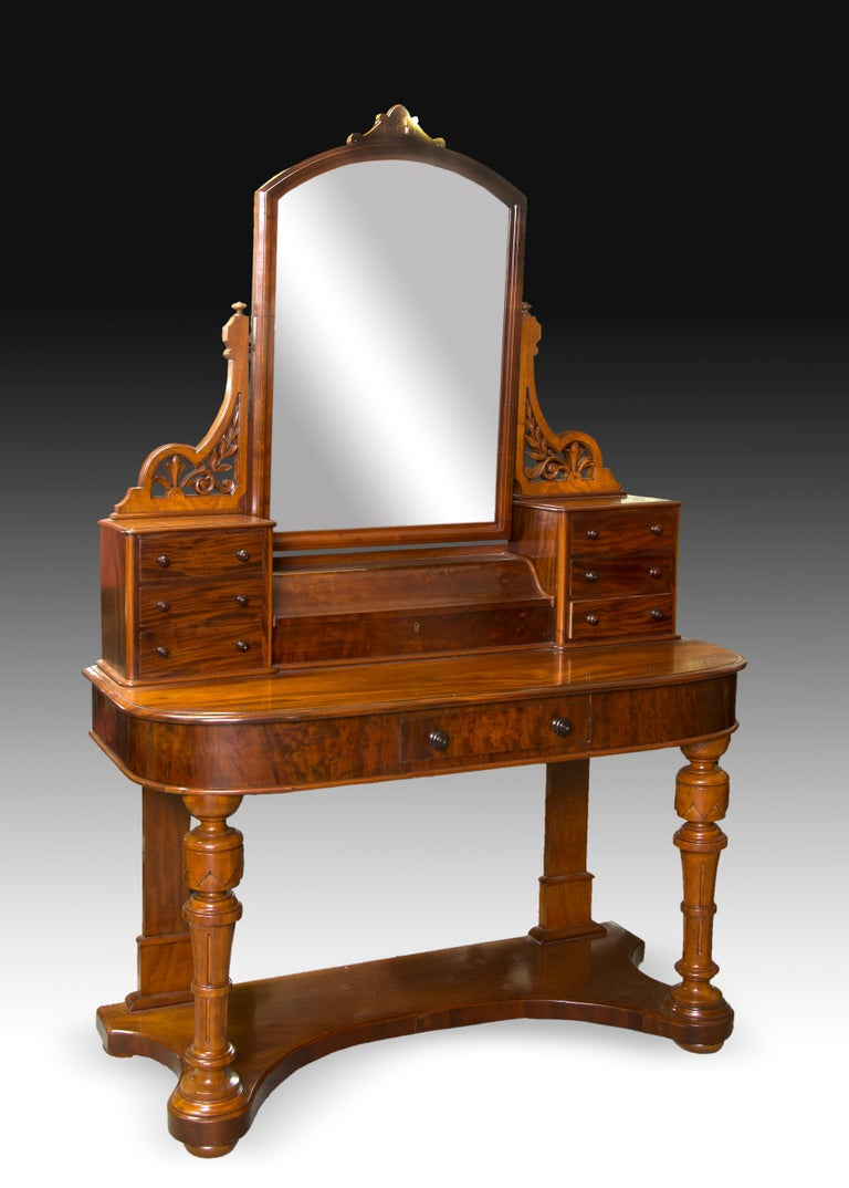 English Victorian Dressing Table, Mahogany, Metal, Glass, England, 19th Century For Sale